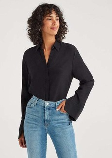 7 For All Mankind Hidden Placket Shirt with Tie Sleeve in Jet Black