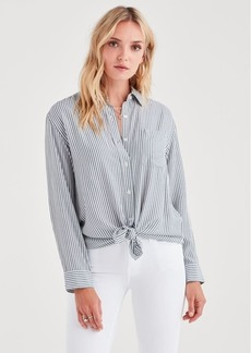 7 For All Mankind High Low Front Tie Shirt in Dark Forest with White Stripes