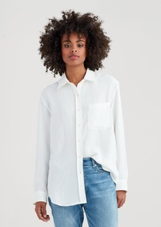 7 For All Mankind High Low Tie Front Shirt in Soft White