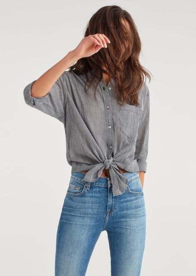 7 For All Mankind High Low Tie Shirt in Gingham