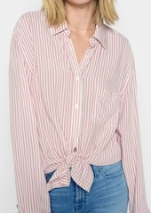 7 For All Mankind High Low Tie Shirt in Pink and White