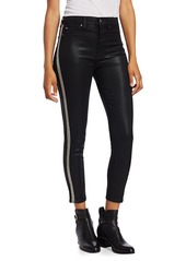 7 For All Mankind High-Rise Ankle Skinny Coated Glitter Racing Stripe Jeans