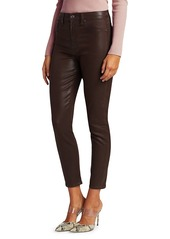 7 For All Mankind High-Rise Coated Ankle Skinny Jeans