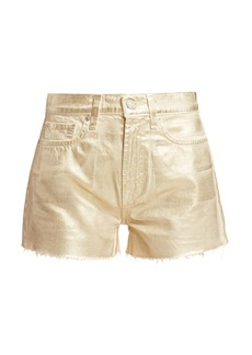 7 For All Mankind High-Rise Cut-Off Metallic Denim Shorts