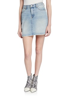 7 For All Mankind High-Rise Distressed Denim Frayed Mini Skirt