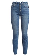 7 For All Mankind High-Rise Exposed Button Fly Skinny Jeans