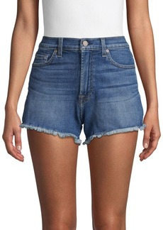 7 For All Mankind High-Rise Frayed Cuff Jeans Shorts