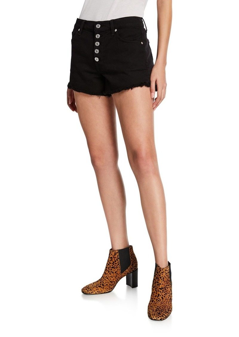 7 For All Mankind High-Rise Frayed Shorts w/ Button Fly