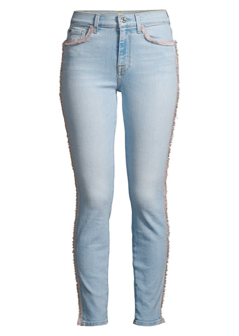 7 For All Mankind High-Rise Fringed Skinny Ankle Jeans