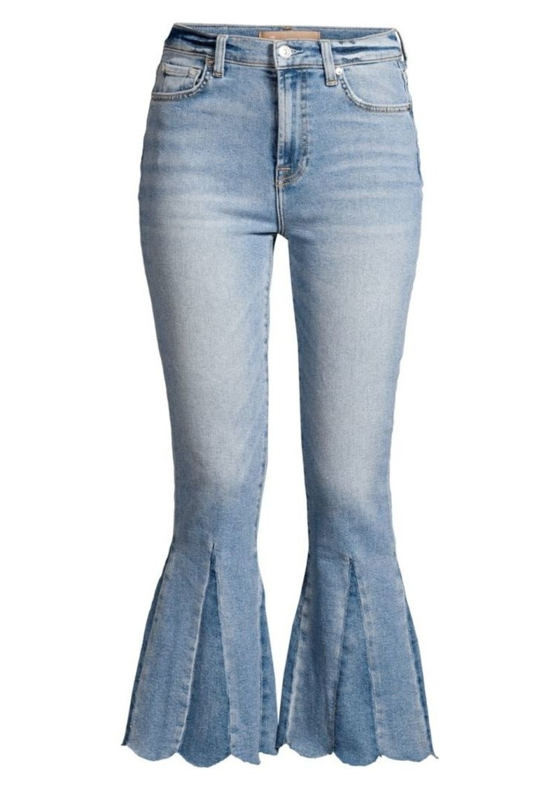 7 For All Mankind High-Rise Kick Flare Scallop Hem Jeans