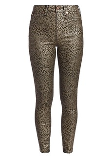 7 For All Mankind High-Rise Metallic Leopard Skinny Jeans