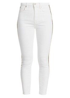 7 For All Mankind High-Rise Metallic Stripe Skinny Jeans