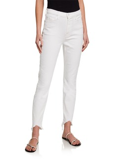 7 For All Mankind High-Rise Skinny Ankle Jeans with Metallic Pockets