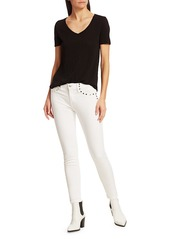 7 For All Mankind High-Rise Studded Ankle Skinny Jeans