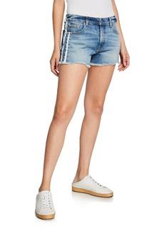 7 For All Mankind High-Rise Vintage Cutoff Shorts w/ Stripes