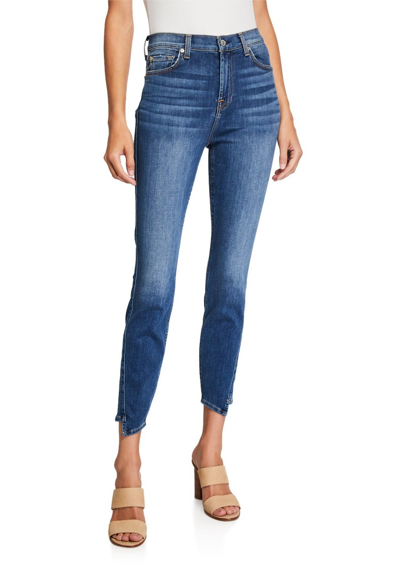 7 For All Mankind High Waist Ankle Gwenevere Spliced Hem Jeans
