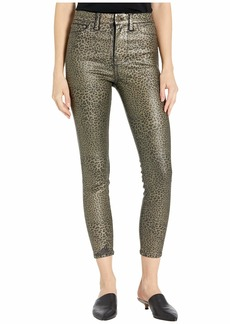7 For All Mankind High-Waist Ankle Skinny Faux Pocket in Metallic Leopard