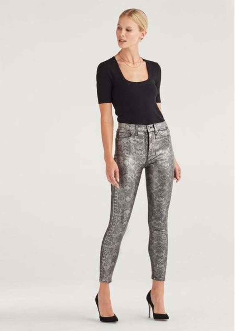 7 For All Mankind High Waist Ankle Skinny in Coated Pewter Python