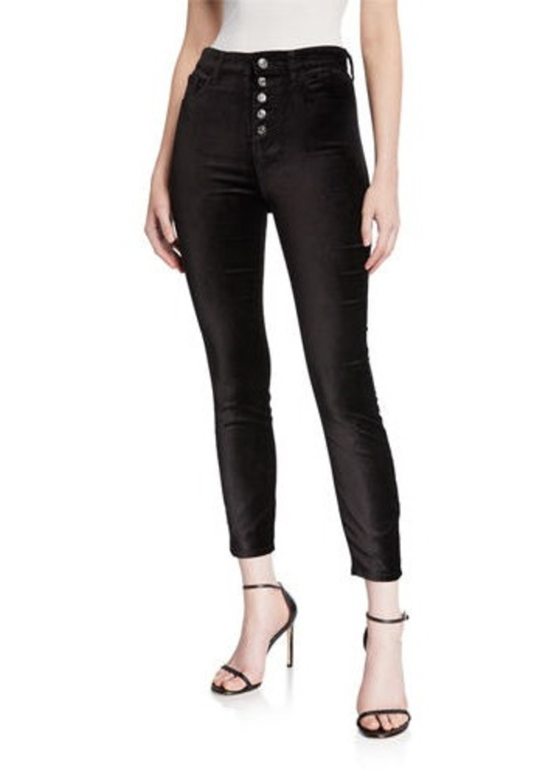 7 For All Mankind High Waist Ankle Skinny Jeans with Exposed Buttons