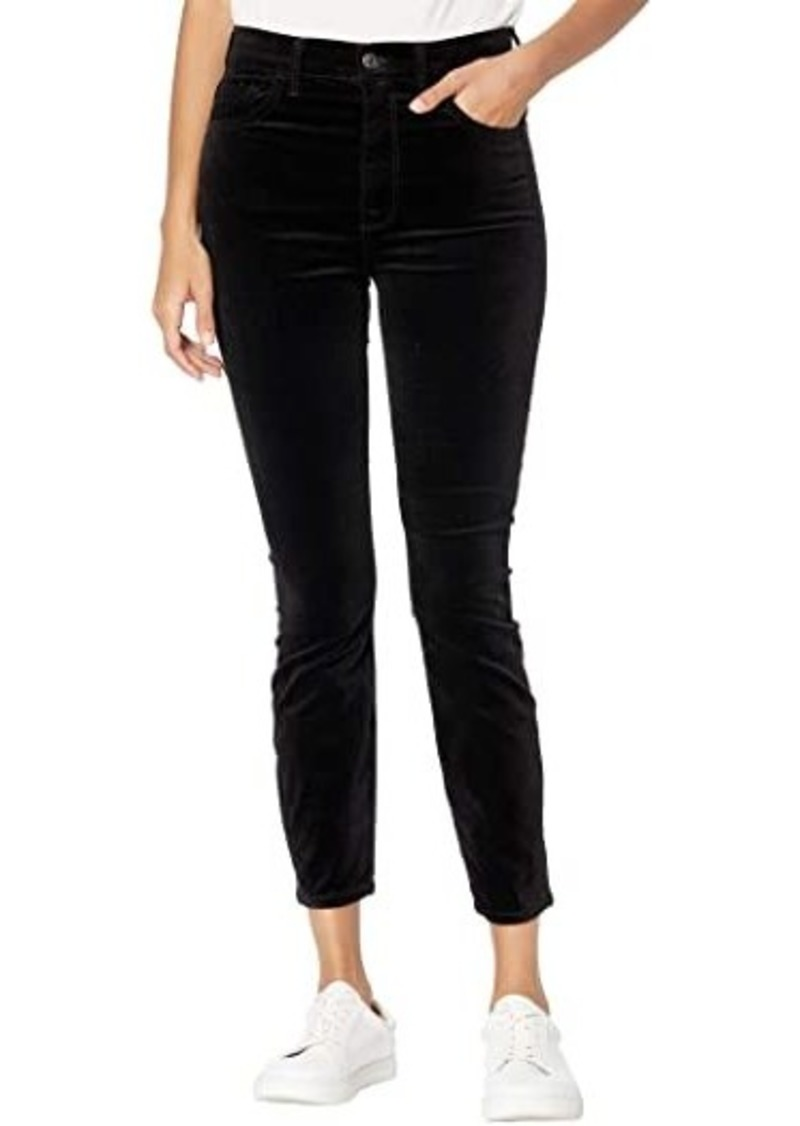 7 For All Mankind High-Waist Ankle Skinny Velvet in Black