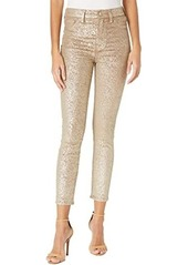 7 For All Mankind High-Waist Ankle Skinny Velvet in Metallic Gold
