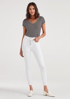 7 For All Mankind High Waist Ankle Skinny with Exposed Button Fly in White Runway