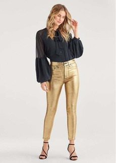 7 For All Mankind High Waist Ankle Skinny with Faux Pockets in Liquid Gold