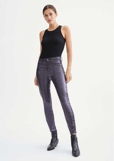 7 For All Mankind Coated High Waist Ankle Skinny with Faux Pockets in Sparkle