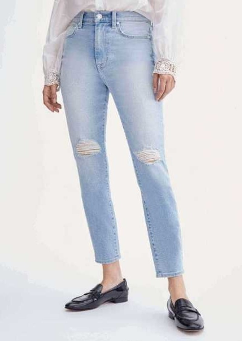 7 For All Mankind High Waist Ankle Skinny with Knee Slits in Beverly Boulevard