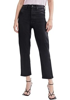 7 For All Mankind High-Waist Crop Straight Coated in Black Coated