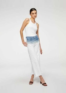 7 For All Mankind High Waist Cropped Flare with Chevron Seaming in Clean White/Coldwater