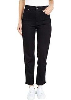 7 For All Mankind High-Waist Cropped Straight in No Fade Black