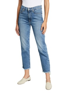 7 For All Mankind High-Waist Cropped Straight Jeans with Frayed Hem