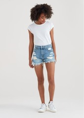 7 For All Mankind High Waist Cut Off Short with Scallop Raw Hem in Vintage Wythe