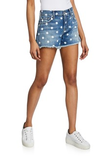 7 For All Mankind High-Waist Cutoff Shorts with Polka Dots
