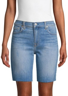 7 For All Mankind High-Waist Denim Bermuda Shorts