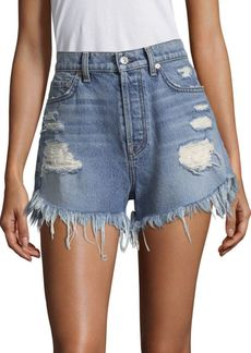7 For All Mankind High-Waist Destroyed Denim Shorts