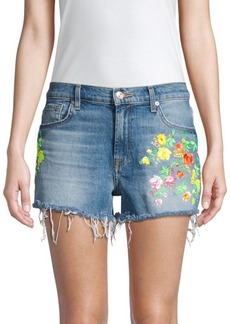 7 For All Mankind High-Waist Embroidered Floral Frayed Cutoffs