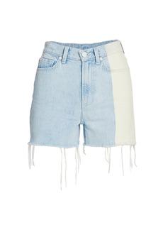 7 For All Mankind High-Waist Fray Hem Denim Shorts