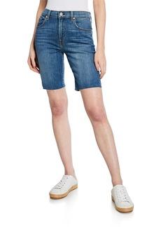 7 For All Mankind High-Waist Frayed Bermuda Shorts
