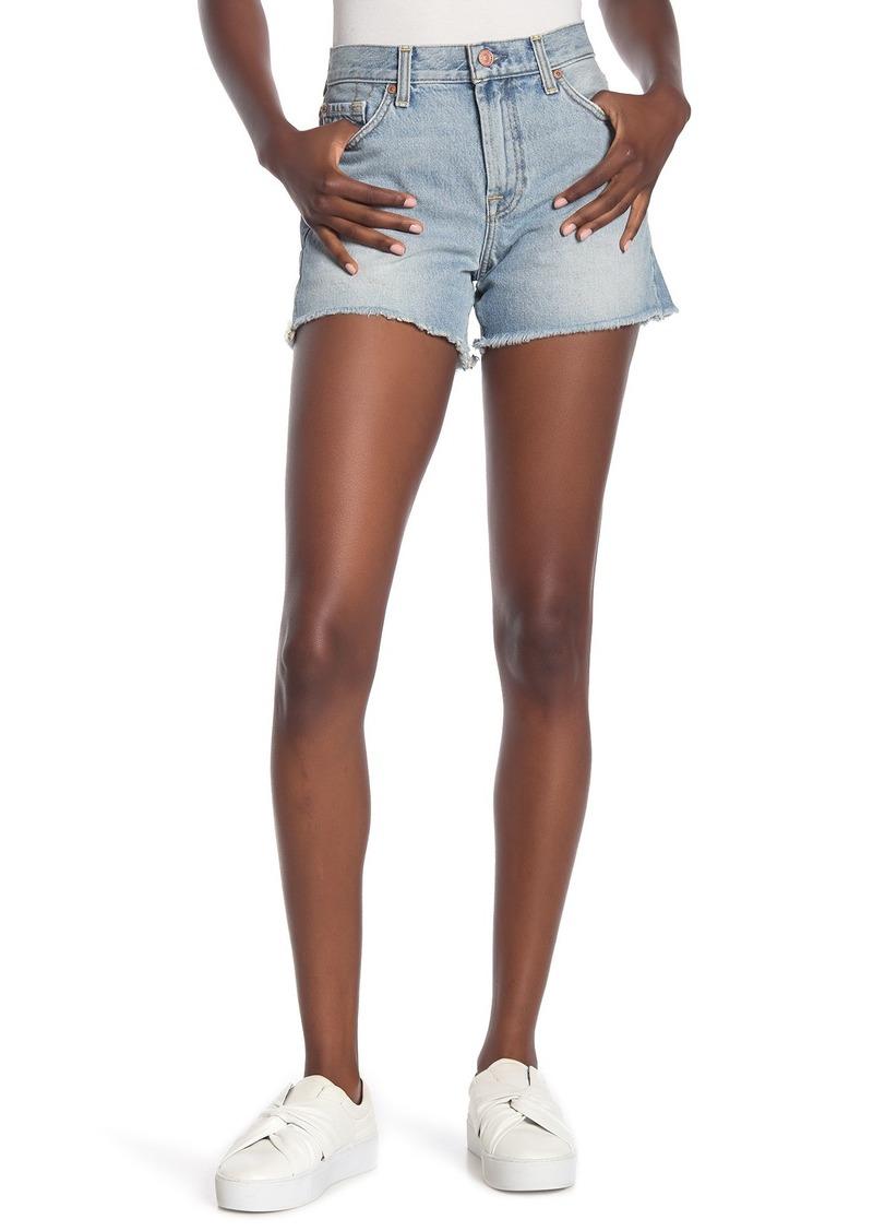 7 For All Mankind High Waist Frayed Hem Shorts