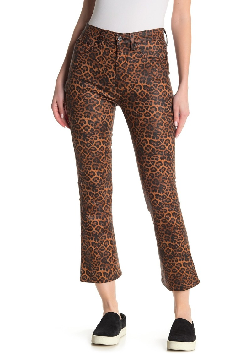 7 For All Mankind High Waist Leopard Printed Kick Flare Pants