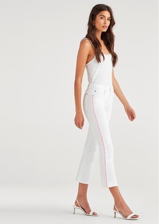 7 For All Mankind High Waist Slim Kick with Neon Piping in White