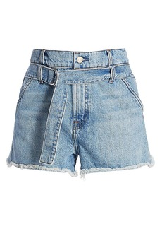 7 For All Mankind High-Waist Tie-Waist Paperbag Denim Shorts