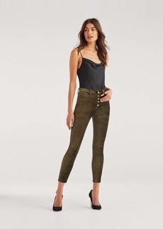 7 For All Mankind High Waist Velvet Ankle Skinny with Exposed Button Fly in Fatigue