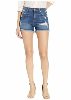 7 For All Mankind High Waist Vintage Cut Off in Blue Monday