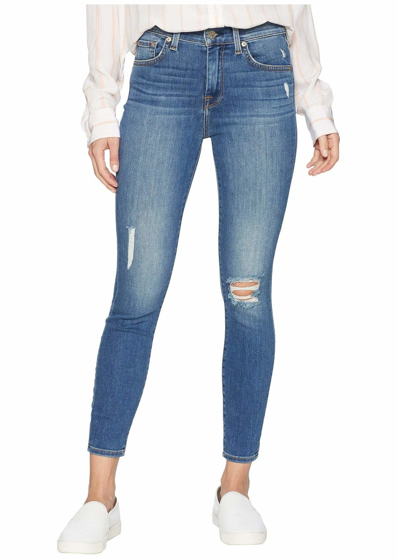 7 For All Mankind High-Waisted Ankle Skinny w/ Destroy in Gilded Dawn 2