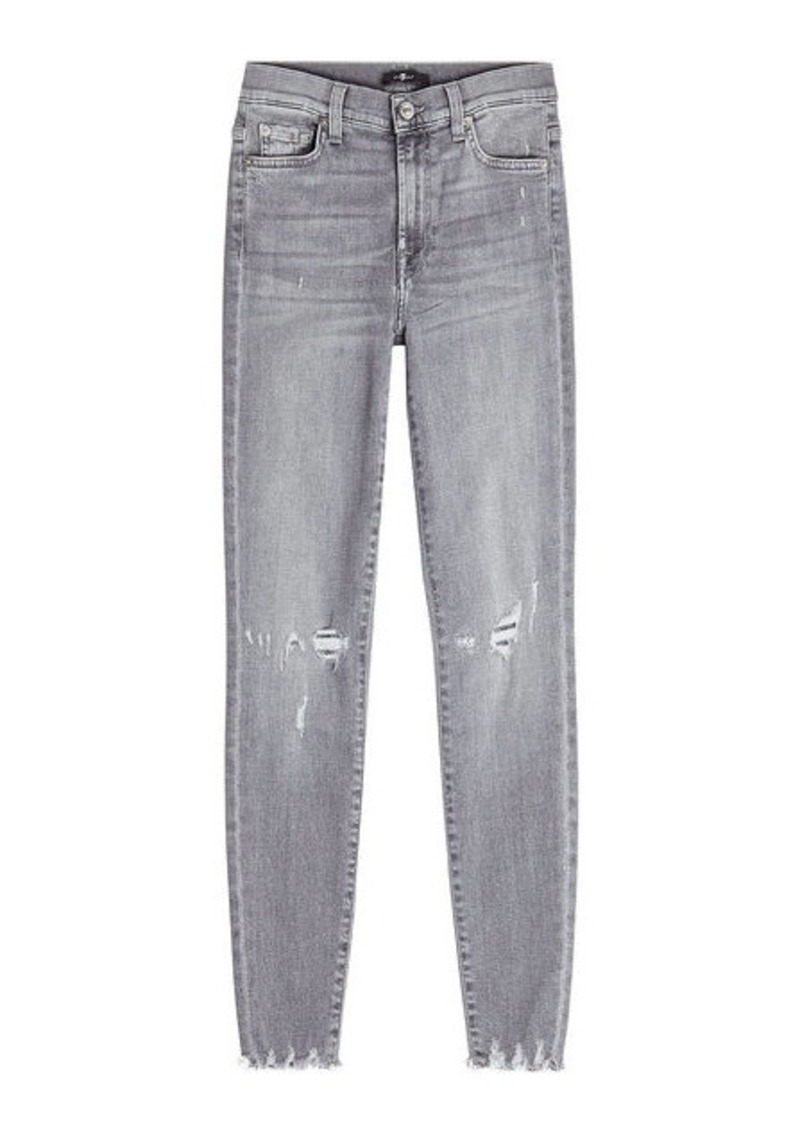 7 For All Mankind High Waisted Cropped Skinny Jeans