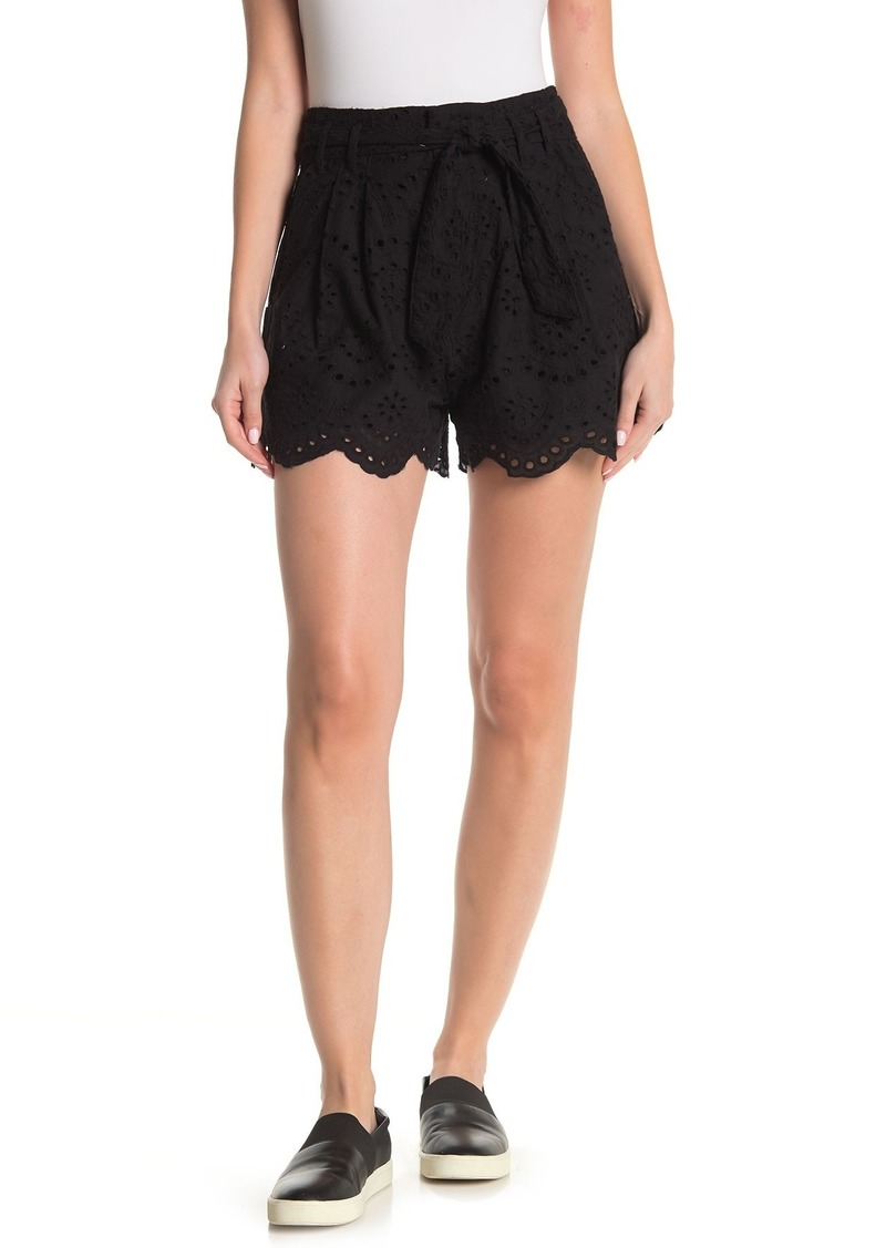 7 For All Mankind High Waisted Tie Scalloped Eyelet Shorts