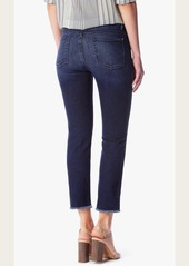 7 For All Mankind Highwaist Ankle Straight with raw hem in Acroplis Deep Sky